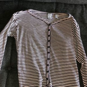 Long sleeved black and white striped GAP shirt